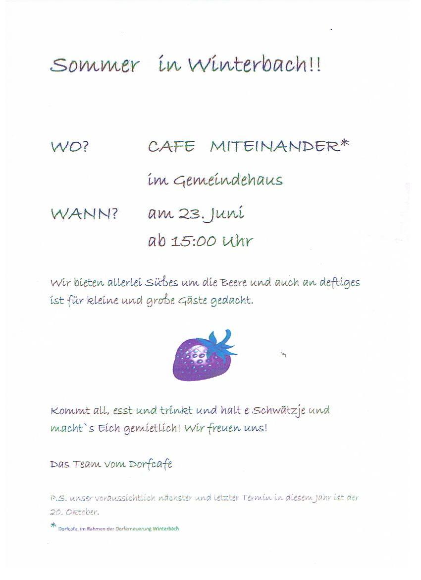 """Sommer in Winterbach – """"Cafe Miteinander"""""""